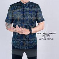 Baju Kemeja Songket Batik Cowok Lengan Pendek Kemeja Formal - Hijau, M