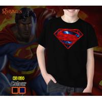 Kaos Anak Laki Laki Superman Logo Red Baju Rhymes Cowok Superhero - Hitam, 4