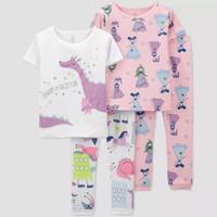 Baju Tidur Piyama Anak Carter's 4pcs Toddler Girl Pajama Set - Lengan pendek