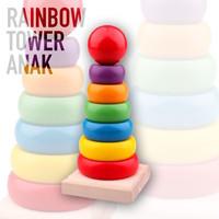 Mainan Susun Anak Rainbow Tower Menara Donat Mainan Balok Kayu