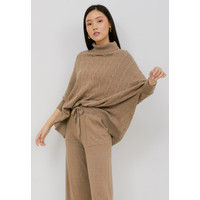 NOA Everyday SET PROMO: HANA Knitted Blouse with Pants - Mocca