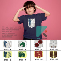 Kaos Anak Scout Legion / Kaos Attack On Titan Anak / Baju AOT Anak - Putih, S Anak 1-2 Th