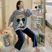Baju Tidur Piyama Import Wanita Korea Bahan Spandex - mickey garis