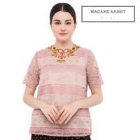 Baju Atasan Brokat Halus Madame Rabbit Warna Pink Cream Lengan Pendek