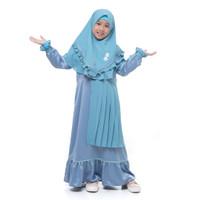 Bani Batuta - Setelan Baju Gamis Anak Perempuan Khimar Hafiz Fahra - Oil Blue, 1-2 tahun