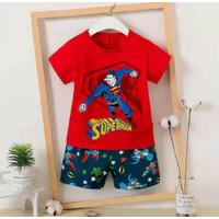 SETELAN ANAK 6BLN - 10TH KU BAO IMPORT PIYAMA BAJU TIDUR ANAK - red superman, 1-2th,no55