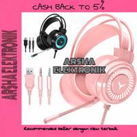 headphone gaming for PC laptop headset gaming cewek lucu headset pink