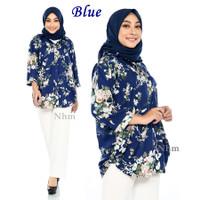 Kemeja Wanita Jumbo, Baju Atasan Jumbo motif Flower 503