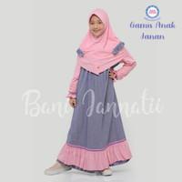 Gamis Anak Janan | Pakaian Muslim Anak Perempuan | Baju Muslim Anak - 800 Yellow Pink, 3-4 tahun