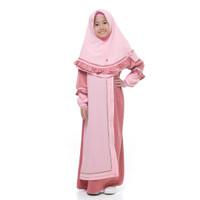 Bani Batuta - Setelan Baju Gamis Anak Perempuan Khimar Hafiz Niswah - Rasberry, 3-4 tahun