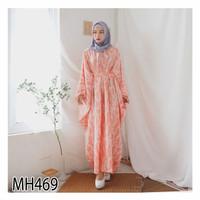 Baju Gamis Kaftan Lebaran Wanita MH469 - Dress Motif Muslimah Pesta Pr