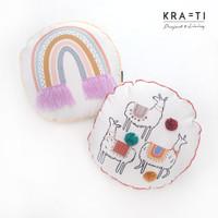 Bantal Sofa / Bantal Bulat / Bantal 40x40 cm / Llama / Rainbow