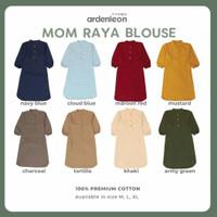 Baju Wanita Mom Raya Blouse Ardenleon- Baju LEBARAN SET KELUARGA - Blue Navy, XL