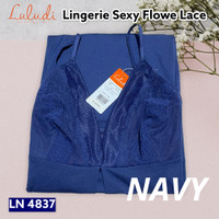 Luludi By Wacoal Lingerie Sexy Flower Lace LN 4837 / Dress Baju Tidur - Biru, M