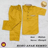 Stelan Koko Anak KEMKO Stelan Jubah anak Koko Trendy Baju Lebaran - Kunyit, XS (2-4 tahun)