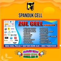 Spanduk Banner Backdrop untuk JUAL PULSA/ CELL/CELLULAR ukuran 2X1 m