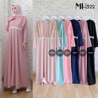 Baju Gamis Brukat Lebaran Muslim - Dress Pesta Muslimah Terusan MH322