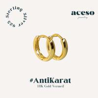 Anting Hoop 925 Sterling Silver - Swed Earring - 18k Gold Vermeil