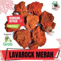 Batu Lava Rock Lavarock Rough Merah Media Aquascape Aquarium Karungan