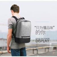 Tas Ransel Laptop Kampus dengan USB Charger Port - Gray/Black (random)