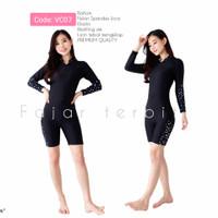 baju renang wanita dewasa pakaian diving perempuan lengan panjang - cv07, M