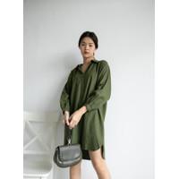 Dress shirt oversize v neck katun uniqlo basic casual