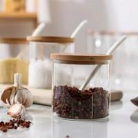 Toples Kaca   Tempat Bumbu Tutup Kayu  Seasoning Jar