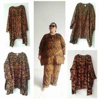 Piyama Batik Asli Superr Jumbo Lengan Panjang Motif Sogan LD 160 CM