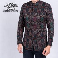Baju Kemeja Batik Songket Cowok Kemeja Santai Kemeja Casual Remaja - Cokelat, M
