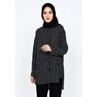 Atasan Wanita Oversized Tunik Salur Fit XL Zahra Signature Tunik Aluna - navy
