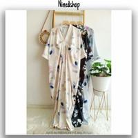 Baju Dress Vneck Kaftan Katun Premium / Fashion Gamis Motif Wanita Top