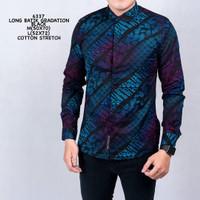 Baju Kemeja Batik Songket Cowok Kemeja Santai Kemeja Casual Pria - Biru, M