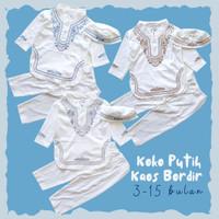 Baju Muslim Anak Bayi Laki Cowok Koko Putih Kaos Panjang Bordir