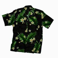 kemeja Pantai Hawaii Full Printing Black Leaf Shirt - Hitam, M