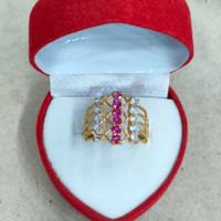 cincin kereta mata merah putih 2 gram emas muda