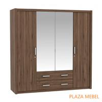 Lemari Pakaian 4 Pintu Besar Pro Design Batavia 200 White / Brown