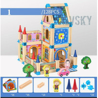MAINAN ANAK EDUKASI - PRETEND TOYS HOUSE WOODEN BUILDING BLOCKS 128 PC