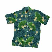 kemeja Pantai Hawaii full Printing Green Leaf Shirt