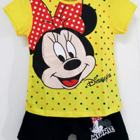 baju kaous setelan anak minnie yellow size 1thn-6thn