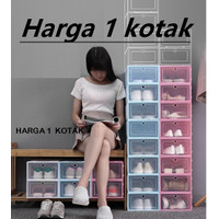 Kotak sepatu model PINTU BESAR– Ukuran 33X24X14 Transparan