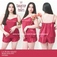 baju tidur perempuan sexy tanktop celana satin XL merah big size jumbo
