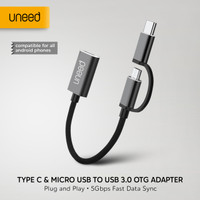 UNEED OTG 2 in 1 Type C & Micro USB to USB 3.0 Adapter - UAT08AMC