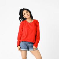 LEMONE 567PS Rayon Spandek Baju T-shirt Kaos Wanita Polos - Merah