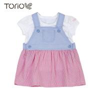 TORIO Pretty Pink Denim Jumper Set - Setelan Jumper Anak Perempuan - 6-9 bulan