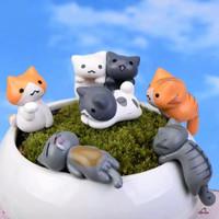 8Pcs Patung Miniatur Kucing kitty cat Keju Kawaii Bahan Resin