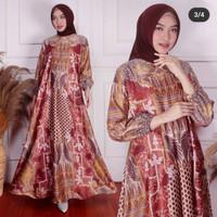Gamis Muslim Wanita Bahan Dior Silk warna Coklat