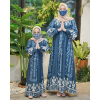 Gamis couple Ibu dan Anak Perempuan Baju Lebaran Keluarga Hasanah Set - navy