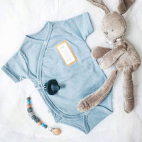 Baby kimono jumper , jumper bayi, baju bayi romper - Biru Muda, M