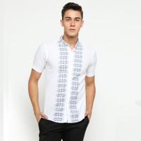 VM Baju Koko Putih Pendek Kemeja Koko Pria Slimfit