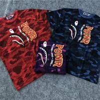 t-shirt bape mirror bape shark camo PONR kualitas bahan termirror